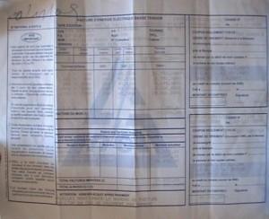 Une facture de consommation d'électricité/Infobascongo