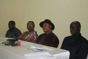 Les orateurs du jour. JC Luta, T. Mambu, L. Nsimba et Sylvain Bibiaka de Harvest plus / Infobascongo
