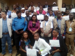 Des professionnels des médias de Matadi lors de la fin de la formation sur l'information électorale organisée par le PACED en collaboration avec le PNUD dans la ville portuaire/Infobascongo