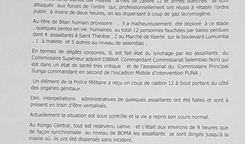 RDC:la police donne sa version et le bilan des échauffourées entre les militants de BDM et les forces de l'ordre