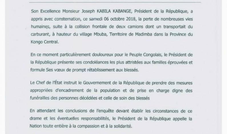 Joseph Kabila ordonne un deuil national de trois jours en mémoire des victimes de Mbuba au Kongo Central