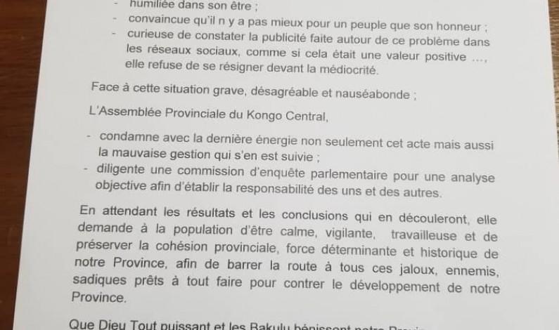 Kongo central: indignée par l'affaire Justin Luemba-Mimie Muyita, iil'Assemblée provinciale diligente une commission d'enquête