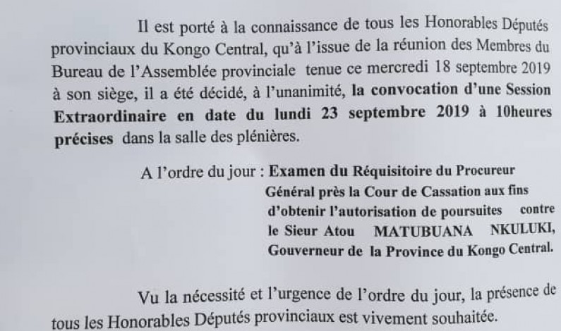 Kongo central: le bureau de l'Assemblée provinciale convoque une session extraordinaire