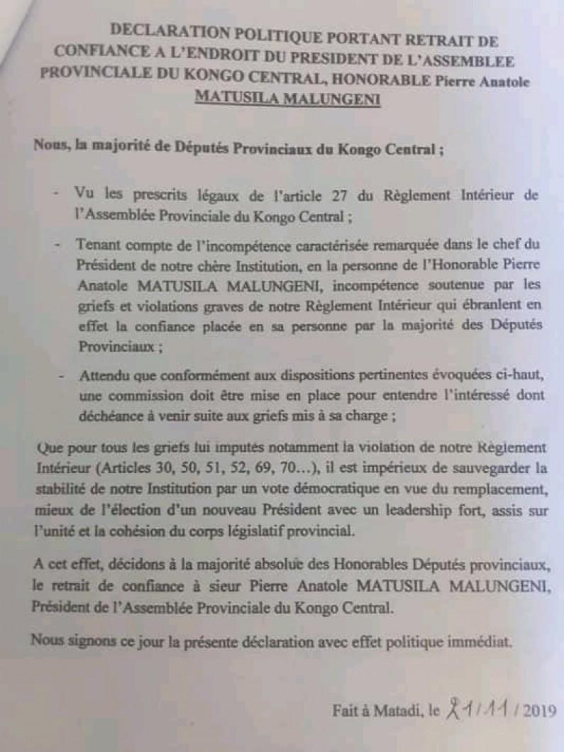 Kongo central: 24 députés provinciaux veulent la déchéance de Matusila