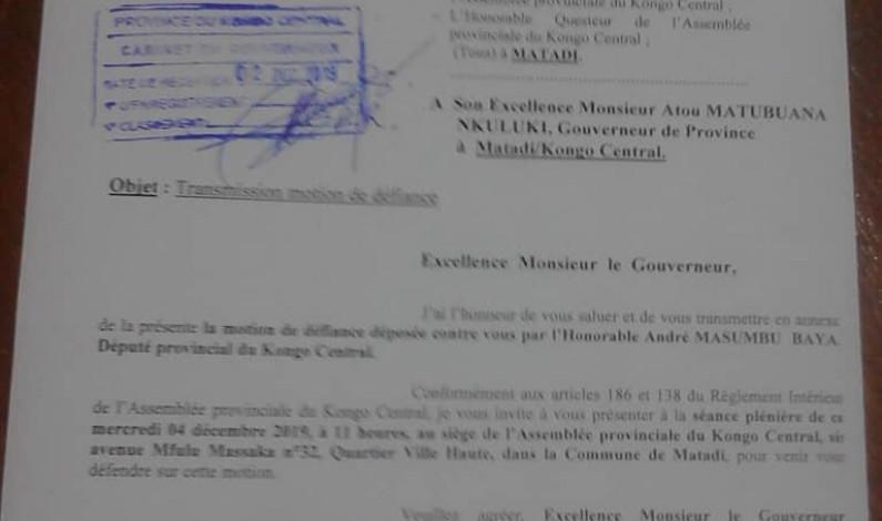 Kongo central: le gouverneur invité à se défendre sur une motion de défiance