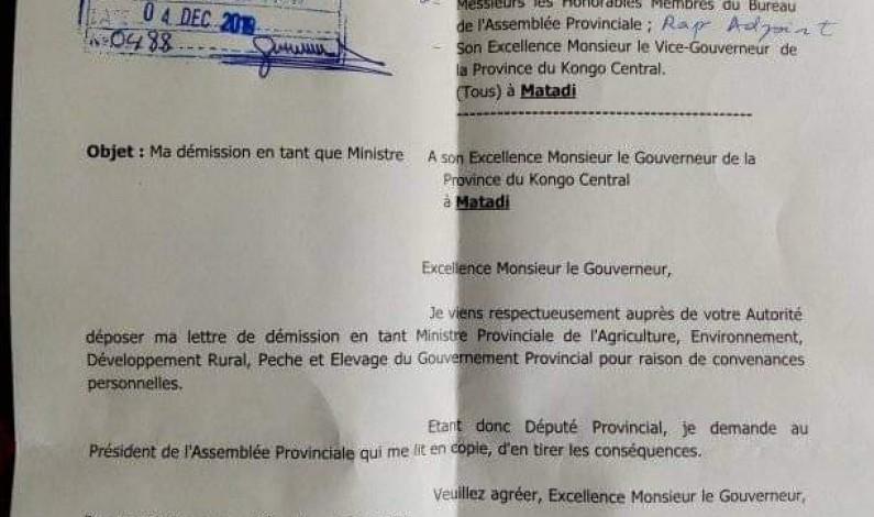 Après Nénette Kiatoko, deux ministres démissionnent du gouvernement provincial du Kongo central