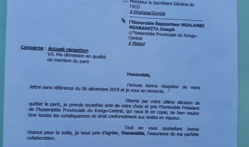 Kongo central: l'Aco prend acte de la démission du député Nsalambi du parti