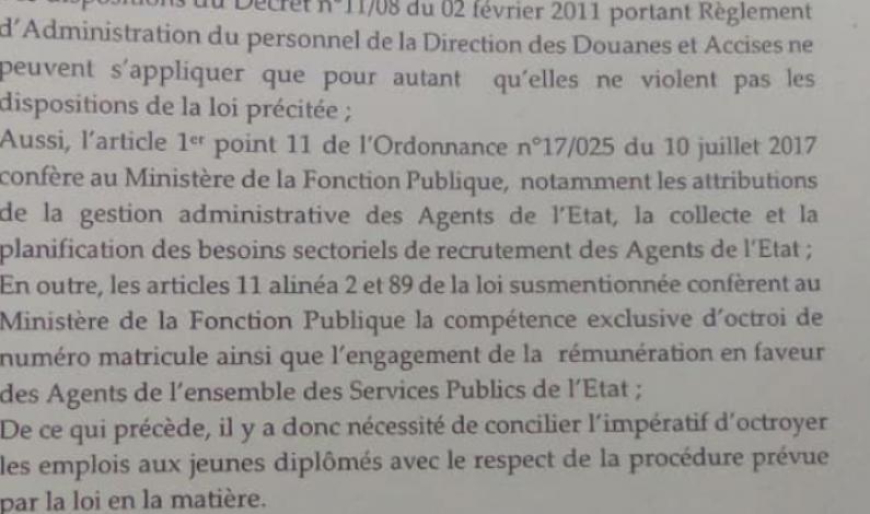 RDC: la demande de surséance du recrutement à la DGDA par la ministre de la Fonction publique fâche  les candidats