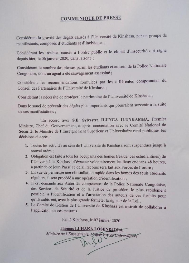 RDC: plus des cours à l'Université de Kinshasa