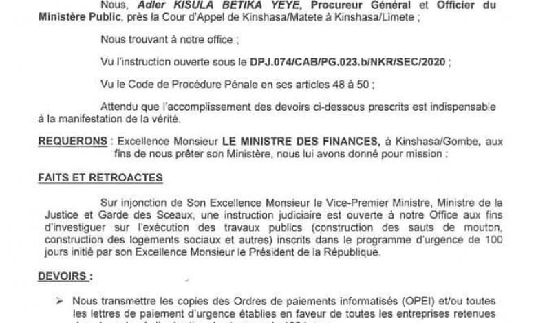 RDC:le procureur général Adler Kisula enquête sur les travaux de 100 jours