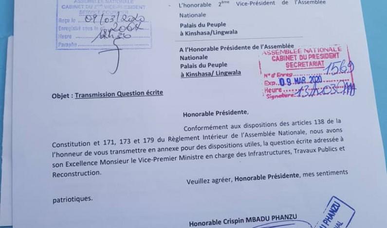 RDC: le député Crispin Mbadu adresse une question écrite au vice-Premier ministre des ITPR sur la route Manterne-Tshela