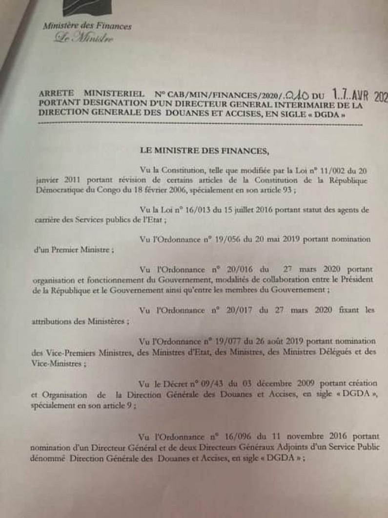 RDC: Kongolo Kabila, DG ai de la DGDA
