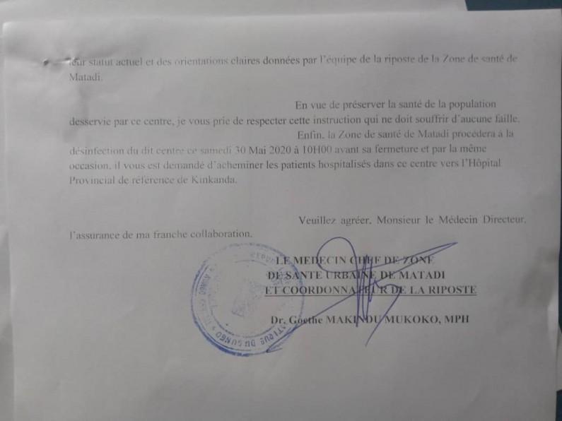 Covid-19 Matadi: personnel médical de la DGDA infecté mais têtu, centre de santé fermé
