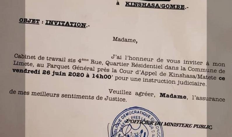 RDC: Hamida Chatur attendue au parquet général près la Cour d'appel de Matete vendredi 26 juin