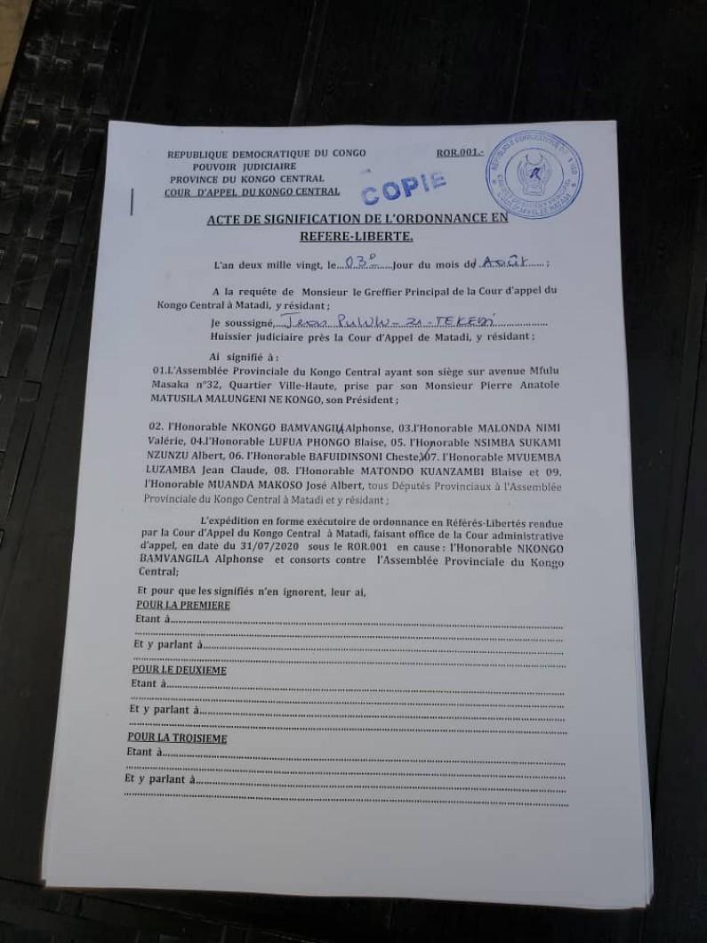 Les mesures administratives prises contre des députés par le président Matusila suspendues par la Cour d'appel de Matadi