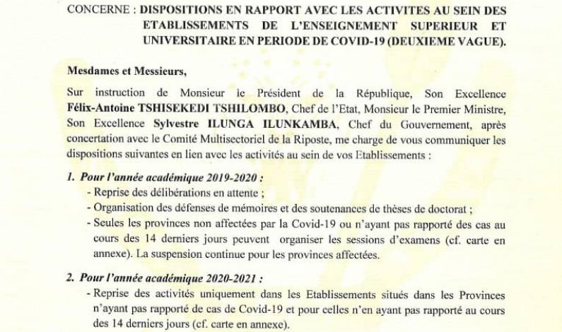 Covid-19 : décisions du ministre de l'ESU pour les années académiques 2019-2020 et 2020-2021