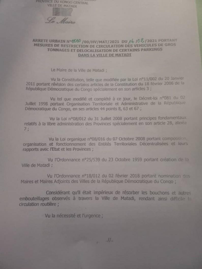 Matadi :la mairie prend des mesures pour lutter contre les embouteillages