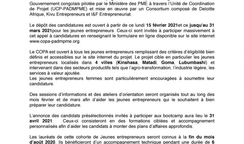 Dépôt des candidatures pour le concours de plans d'affaires en faveur des PME et jeunes de Matadi, Kinshasa, Goma et Lubumbashi