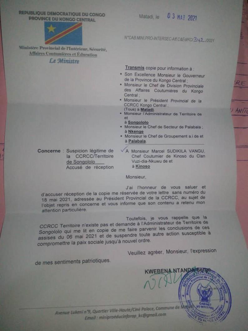 Kongo central : conflit de pouvoir coutumier à Kinoso à Palabala, le ministre provincial de l'intérieur interpelle l'administrateur du territoire de Songololo