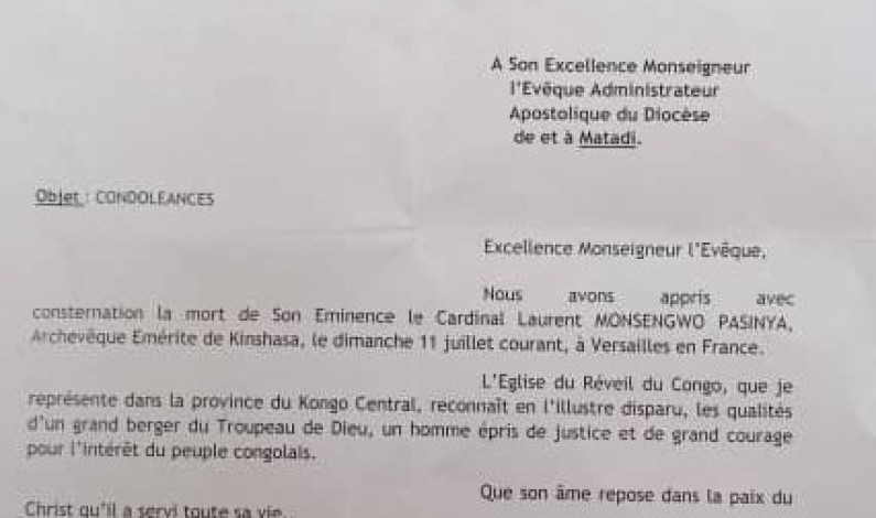 Décès du Cardinal Mosengwo : les condoléances de l'Eglise du réveil du Congo à Mgr André Giraud Pindi