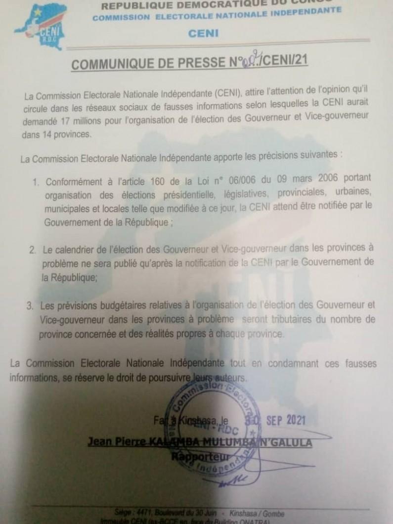 Election du gouverneur et son vice au Kongo central : le gouvernement n'a pas encore notifié la CENI