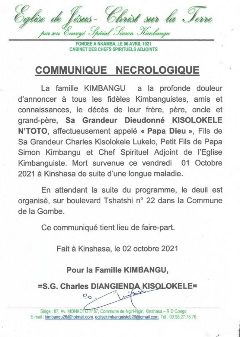 Décès de Dieudonné Kisolokele, chef spirituel adjoint de l'église kimbanguiste