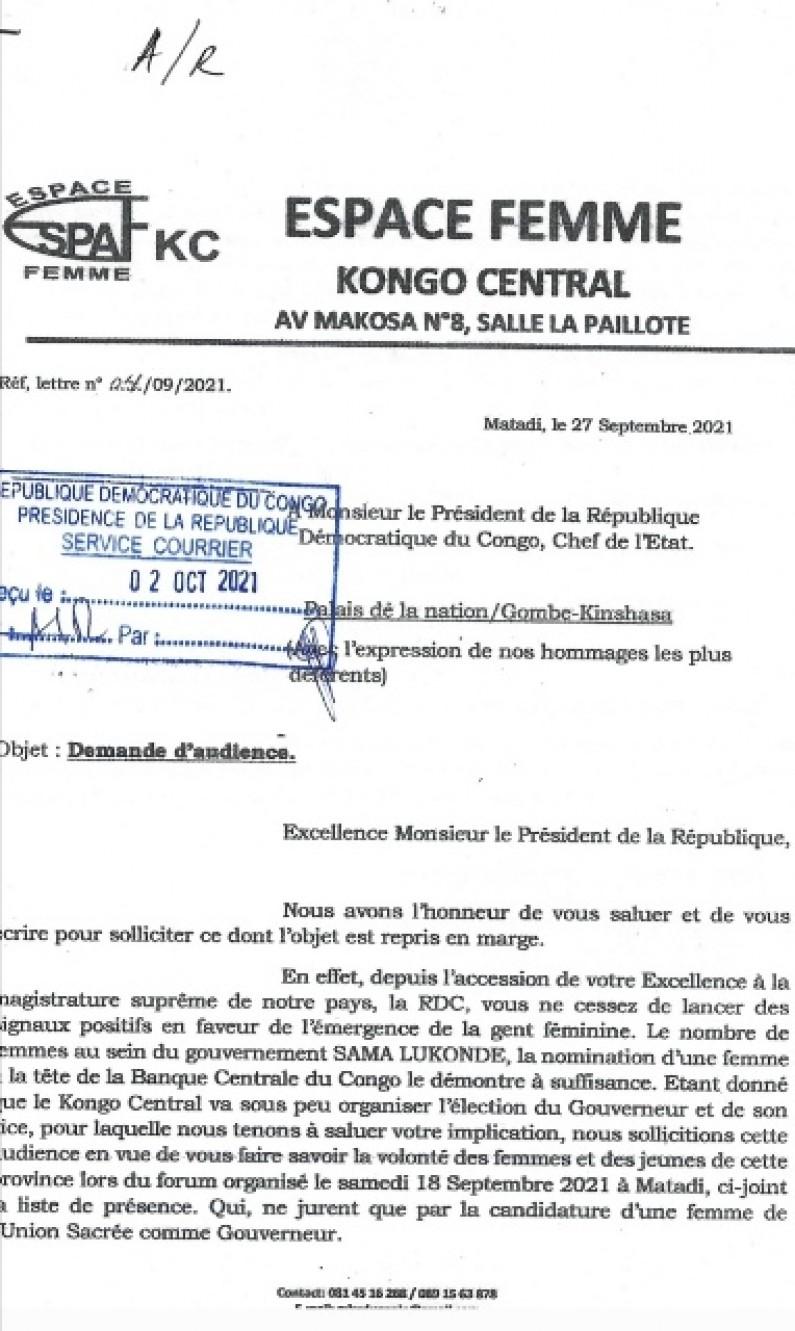 Election des gouverneurs  et vice-gouverneurs : les femmes du Kongo central toquent à la porte de Félix Tshisekedi